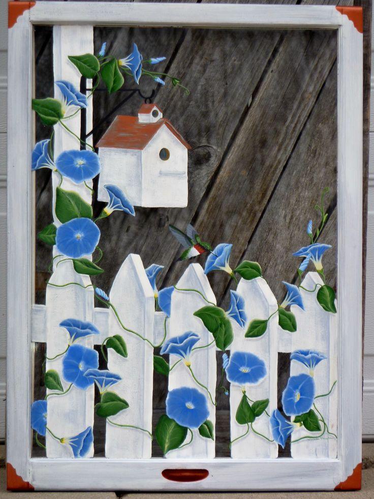 Panes of Art, Hand Painted Windows, Window Art, Decorative Window ...