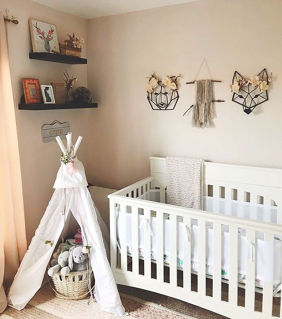 Boho chic nursery, woodland floral, woven wall hanging, baby girl nursery, teepee, play tent, nursery decor inspo, neutral palette // therestlessnester.com