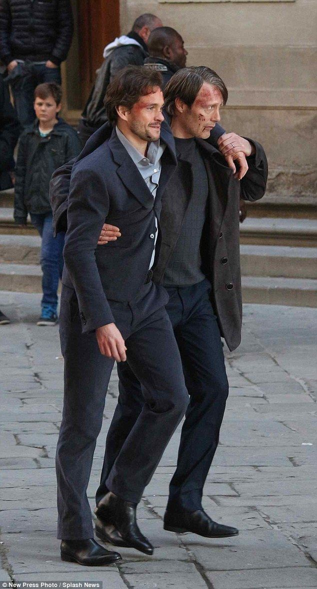 Back on set: The actors were joined by the likes of Gillian Anderson and Laurence Fishburne in Florence