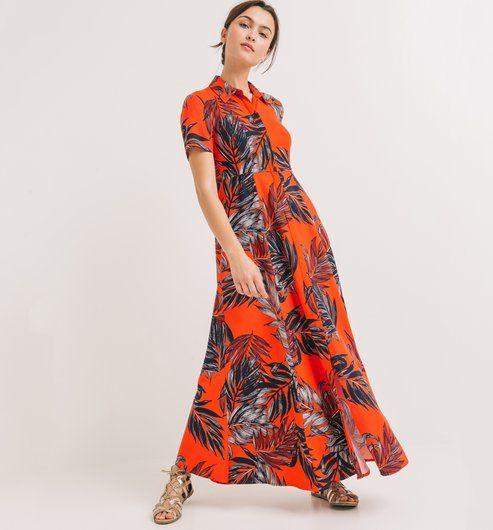 7b5a2c8128017 Longue robe imprimée Femme imprimé rouge - Promod