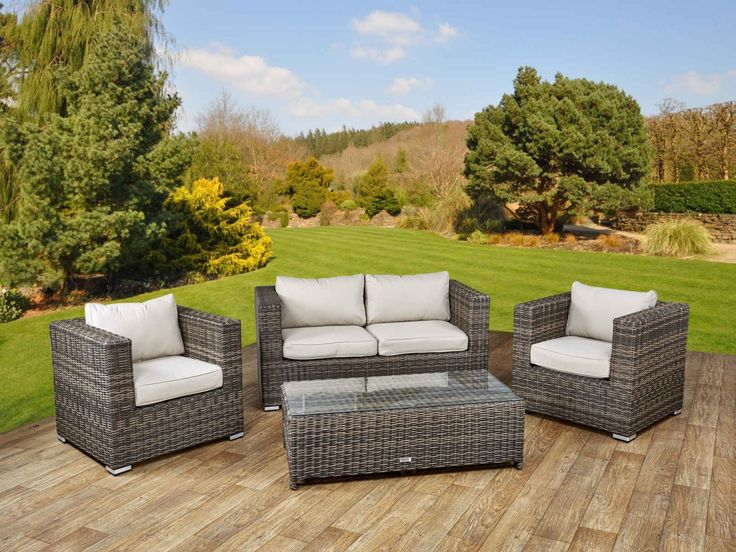 Ascot 2 Seater Rattan Garden Sofa Set in Truffle and Champagne