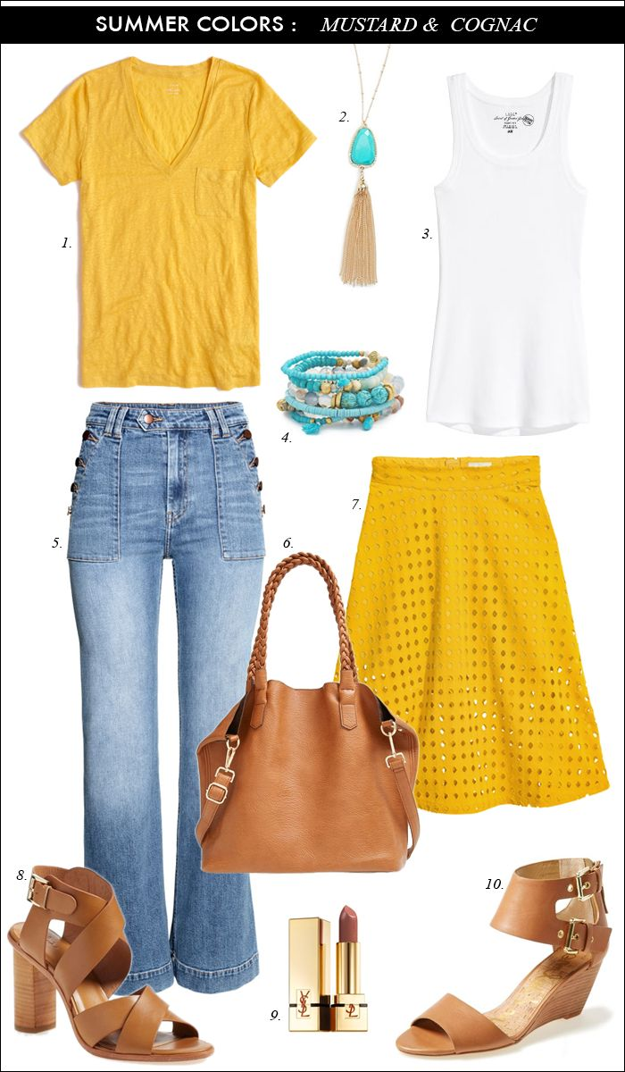 Summer Colors: Mustard, Cognac and Turquiose