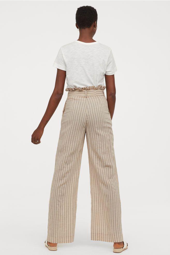 Pantalon Ancho Abullonado Beige Rayas Mujer H M Es Pantalones Anchos Pantalones Beige Pantalones
