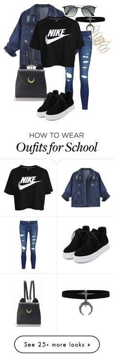 """""""1. Cool for School"""" by srybuttnotsry on Polyvore featuring J Brand, WithChic, NIKE, Ray-Ban and BP."""
