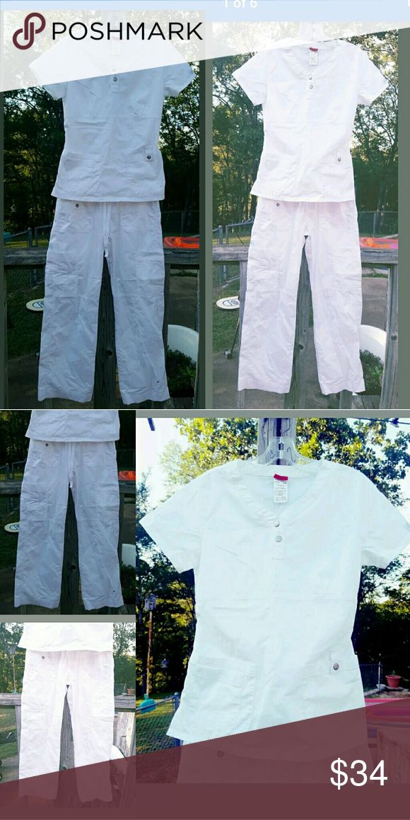 Dickies White Scrub Set top and Cargo Pants SMALL White Dickies cargo scrub pant, very soft and comfortable, high quality material, lots of pockets. Drawstring waist.   White Dickies Scrub top. Bought and never wore them. Took tags off couldn't return.   Both size Small dickies Other