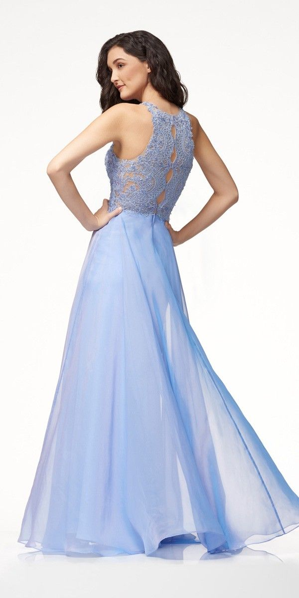 6e10c745073d0 Colette Long Lace and Chiffon Prom Dress. Colors: Periwinkle, Red. Size: 2-2