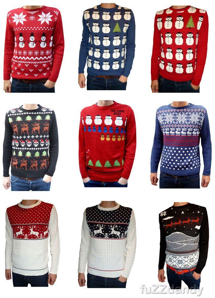 Mens & Ladies novelty christmas xmas winter festive fairisle jumpers vtg retro #RunFly #Jumpers