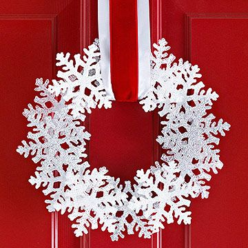 Use a pack of dollar store snowflakes, foam wreath & ribbon. So adorable & simple.