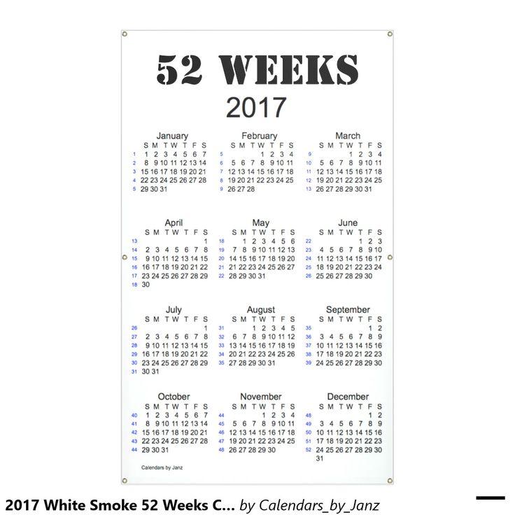 2017 White Smoke 52 Weeks Calendar by Janz Banner