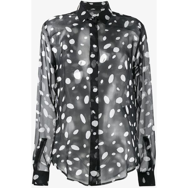Saint Laurent sheer polka dot blouse (€800) ❤ liked on Polyvore featuring tops, blouses, silk blouse, long sleeve silk blouse, transparent blouse, sheer long sleeve blouse and polka dot blouses