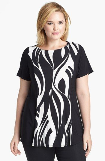 Evans Swirl Print Jersey Top (Plus Size) available at #Nordstrom