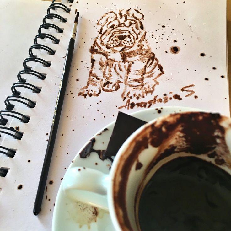 Coffee art ( sharpei puppy )