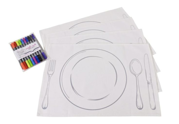 doodle placemats! draw on them, wash out, design again......