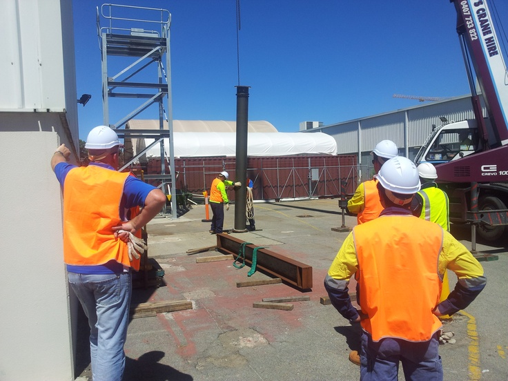 #Dogging training at our #Perth facility. Participants are practicing #safe preparation for the lift of a #steel #pipe. The #crane in the picture is a #20t #Non-Slewing Crane, and is being used to lift the pipe into position.