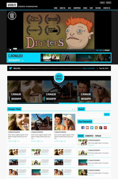 http://sundaestudio.com Viduze WordPress Theme for Video Magazines ✿ ✿
