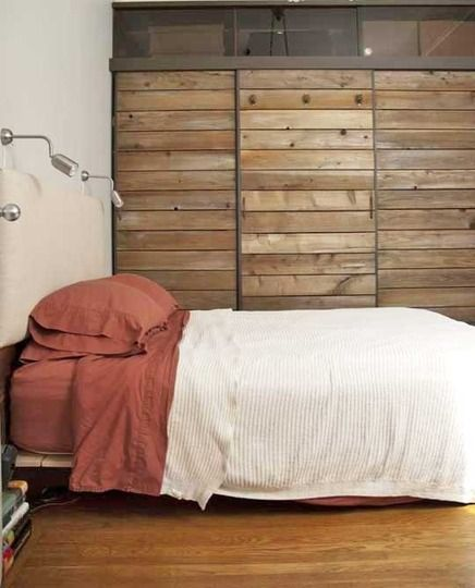 Reclaimed wood sliding doors for closet...too much with pallet wall?