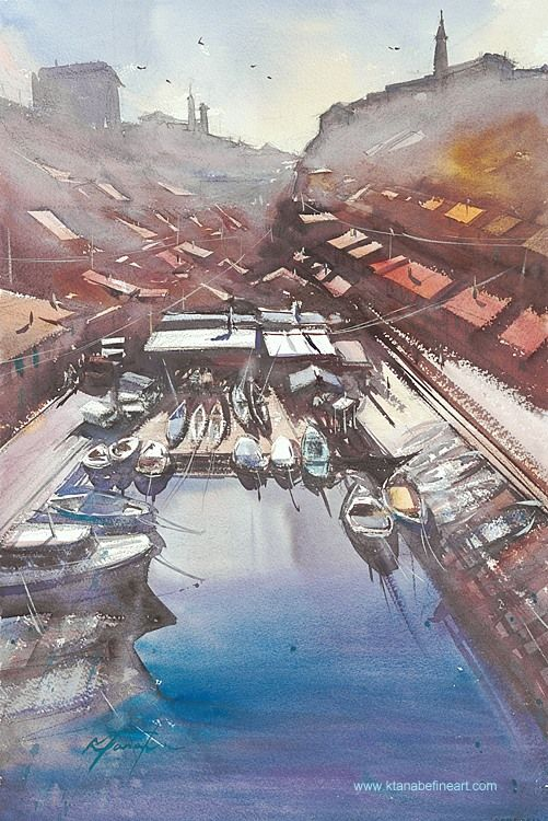 """""""Vallon des Auffes, Marseille, France I"""" watercolor by Keiko Tanabe"""
