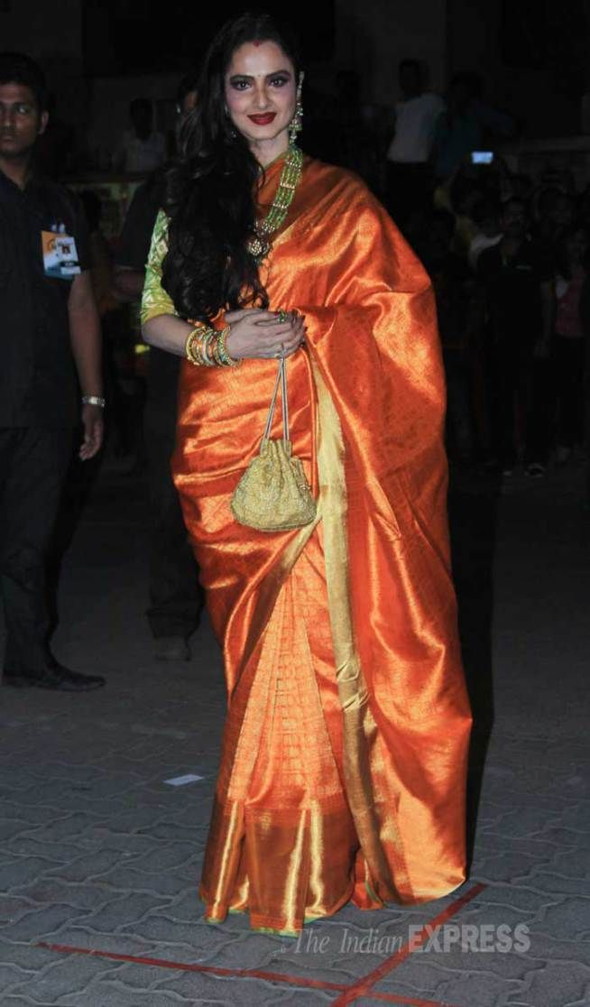 Rekha the brand ambassador of Kanjivaram Saree. Good to see her in other colour than gold. Description by Pinner Mahua Roy Chowdhury