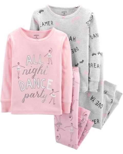 11e065e1b232 4-Piece Ballerina Snug Fit Cotton PJs