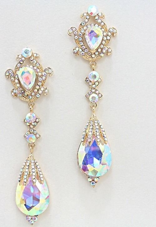 """4"""" Long AB Clear TEARDROP Austrian Crystal Gold Pageant Bridal Earrings Formal #Chandelier"""