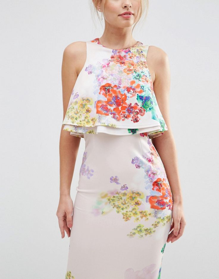Image 3 of ASOS Double Ruffle Floral Crop Top Midi Pencil Dress