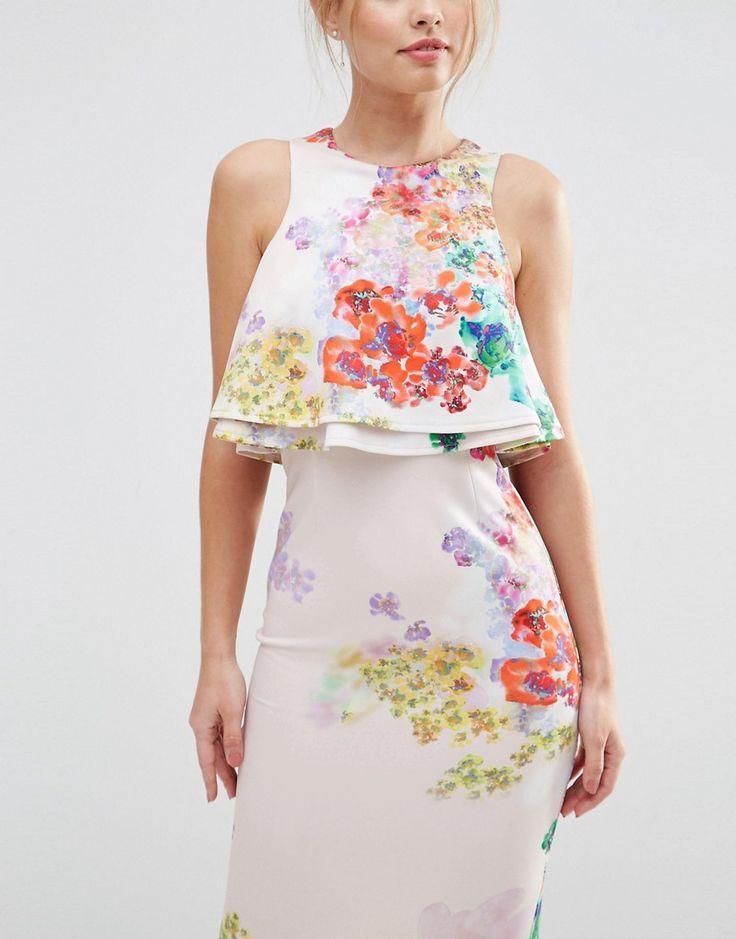 Image 3 ofASOS Double Ruffle Floral Crop Top Midi Pencil Dress