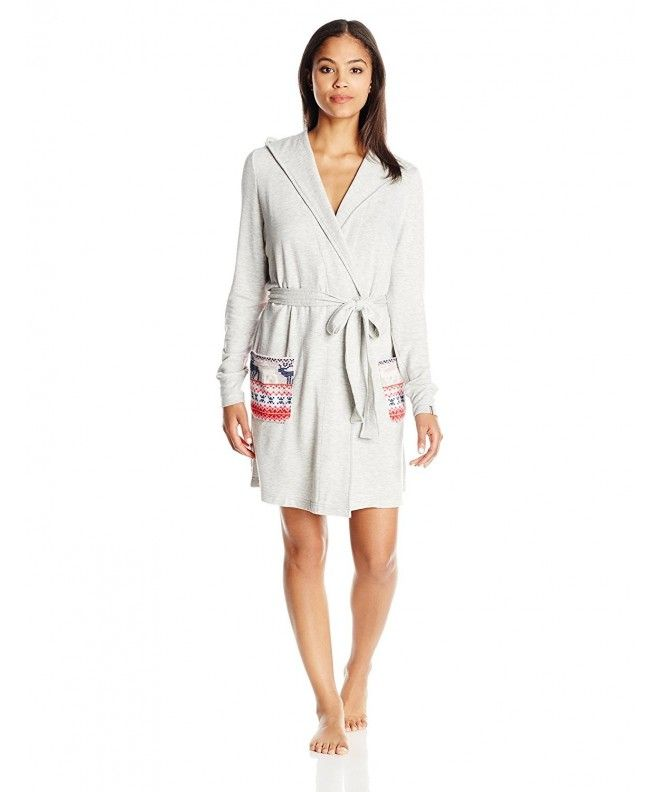 6f0f174b2244 Women s Hooded Robe - Light Heather Gray Reindeer - CO12H9VSZL5 in ...