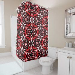 Black, white and red kaleidoscope 9070 shower curtain by Khoncepts