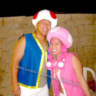 Homemade Toad and Toadette From Mario Brothers Couple Costume: My boyfriend and I adore these little mushroom characters from the Super Mario Bros. movie so much that we decided to be them for Halloween this year.