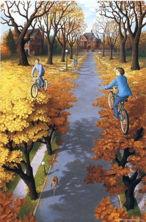 Pinturas de rob que simula a unos niños dando un paseo en bicicleta sobre árboles en una calle