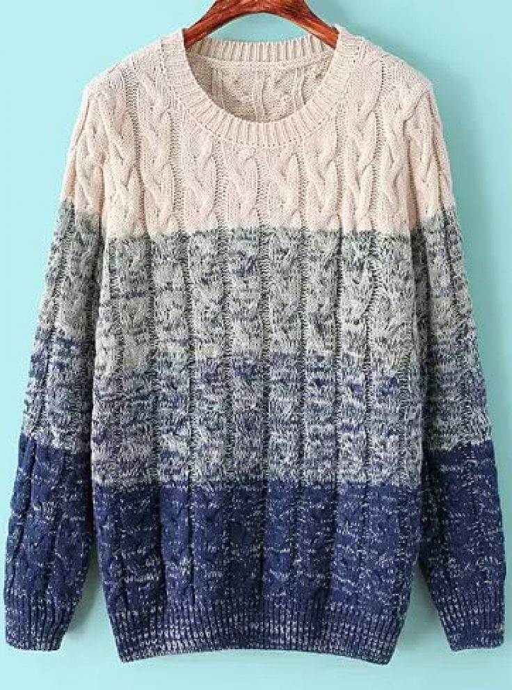 Buy Blue Ombre Long Sleeve Cable Knit Sweater from abaday.com, FREE shipping Worldwide - Fashion Clothing, Latest Street Fashion At Abaday.com
