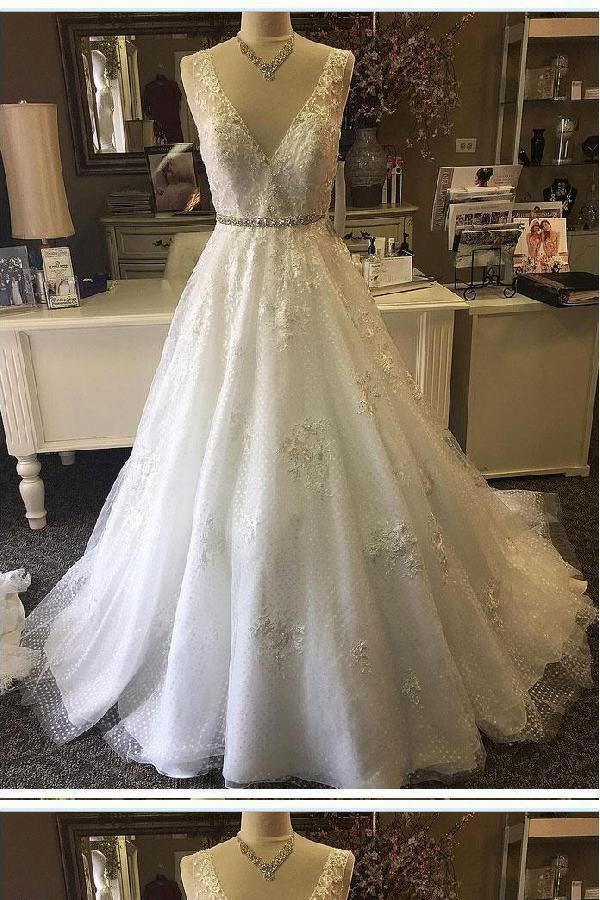 Excellent V Neck Wedding Dress, A-Line Wedding Dress, Lace Wedding Dress, Ivory Wedding Dress