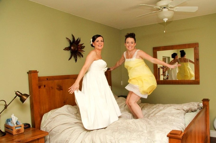 Bride and MOH having some fun before the ceremony