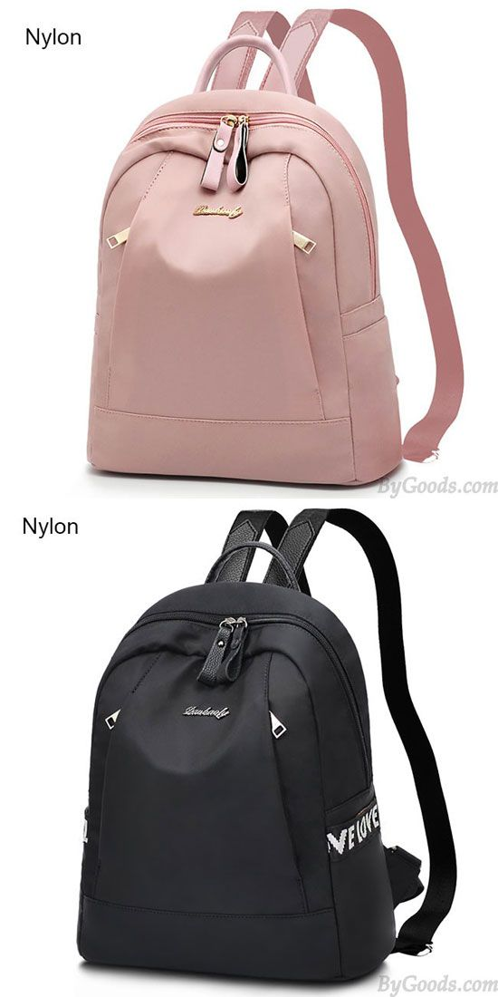 1bbcd5e181 Mode schwarz rosa Liebes Tasche Nylon PU einfache große Schule Rucksack   backpack  Bag  rucksack  school