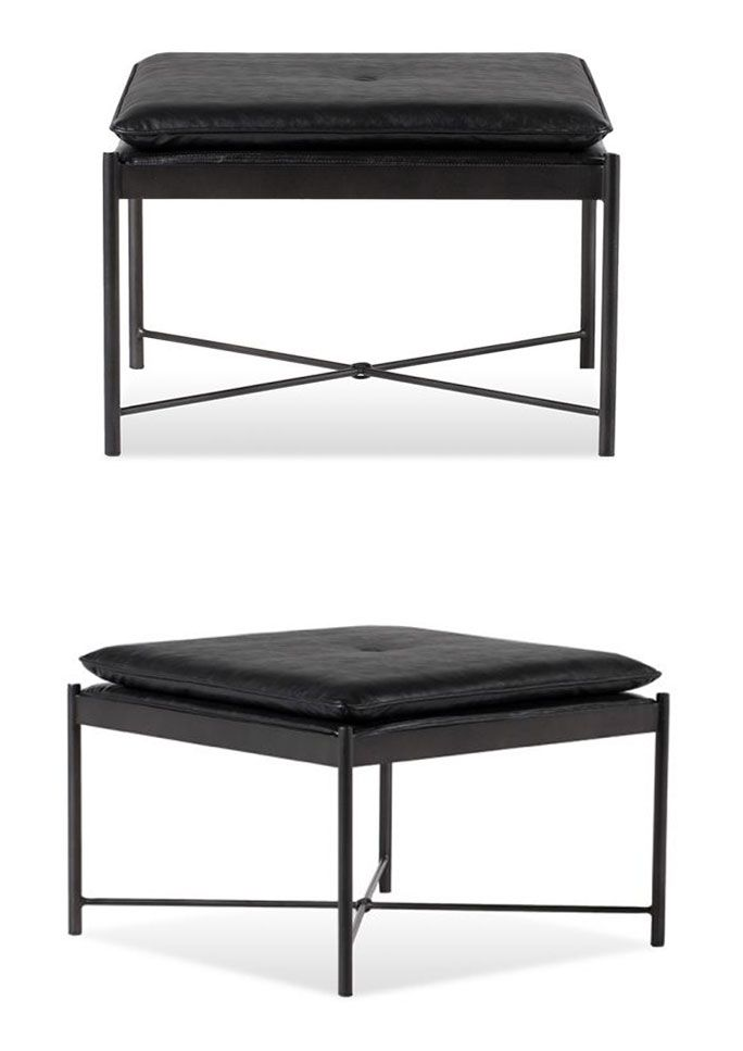 The Libra Ottoman Is Sleek And Modern With Its Waxed Black Finish X Base Design This Ideal Accent Piece To Use For Extra Seating In Your Living