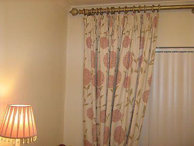 Beautiful HUGE Laura Ashley 'Erin' Chalk Pink Cotton Linen Curtains 88