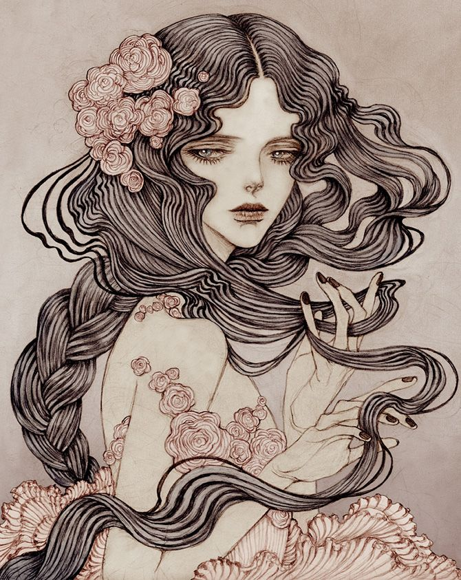 Jinnn is a Korean artist living in New York city who, inspired by Art Nouveau and the New Romantic movement, creates wonderfully dark illustration.