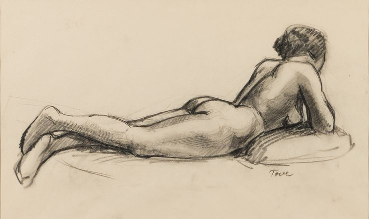 Model, by Tove Jansson (Finnish, 1914-2001) Charcoal drawing,  24 x 40 cm.  #model #ToveJansson #CharcoalDrawing