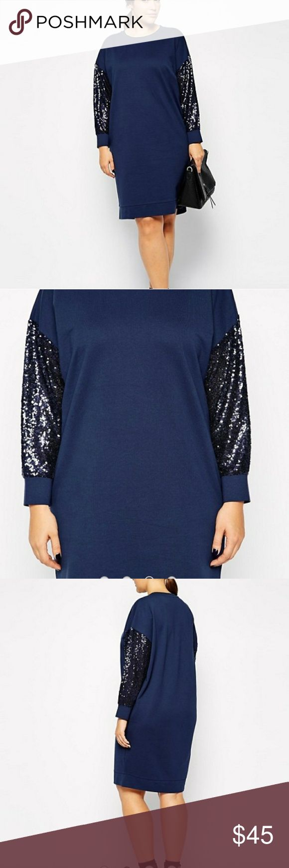 "ASOS CURVE Exclusive Sweater Dress with Sequins ASOS CURVE Exclusive Dress with Sequin Sleeves. Navy blue. Excellent condition.armpit to armpit 28"" (PLUS LOTS OF STRETCH) 39"" shoulder to bottom of dress. Size 14. Sweatshirt material. 100% cotton. ASOS Curve Dresses"