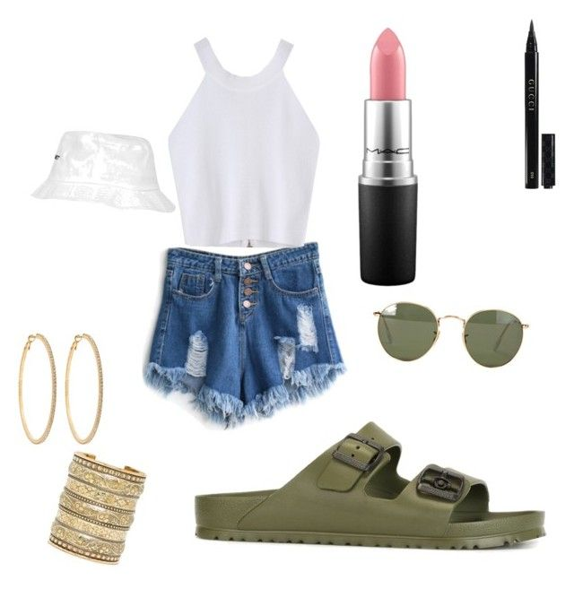"""""""Chill Beauty"""" by jnbell on Polyvore featuring WithChic, Birkenstock, Ray-Ban, Natalie B, Roberta Chiarella, Topshop, Gucci and MAC Cosmetics"""