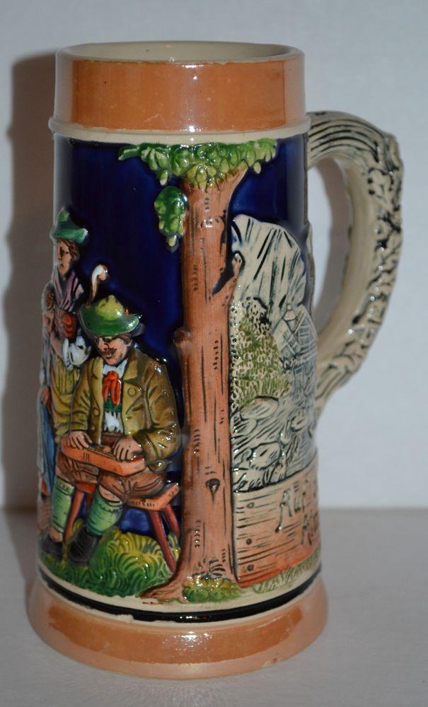 german beer stein mug 477 glazed auf der alm da ist es schon made in germany german beer mug