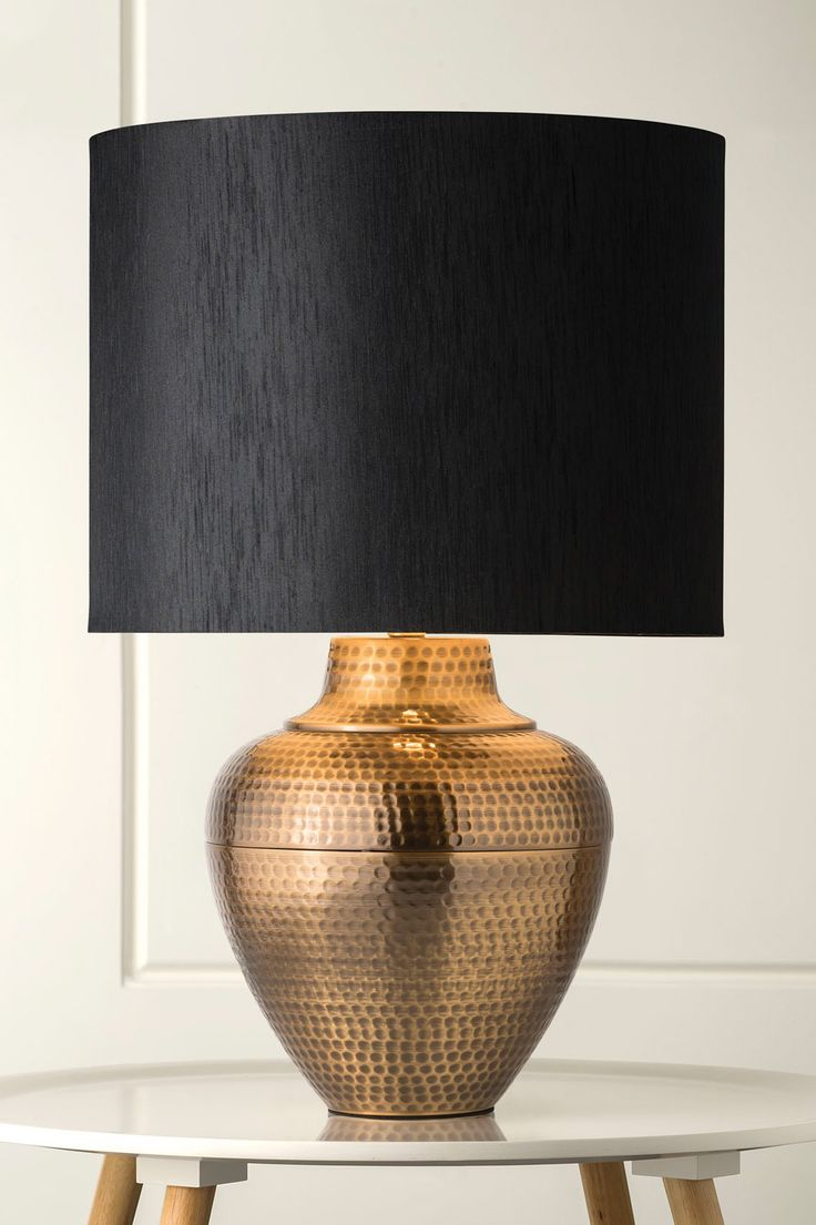 1127 Pavi Hand Beaten Brass Table Lamp
