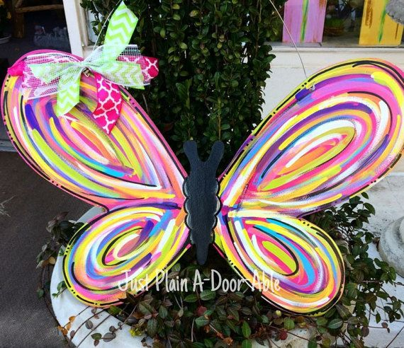 Butterfly Door Hanger Welcome Door Hanger by JustPlainADoorAble