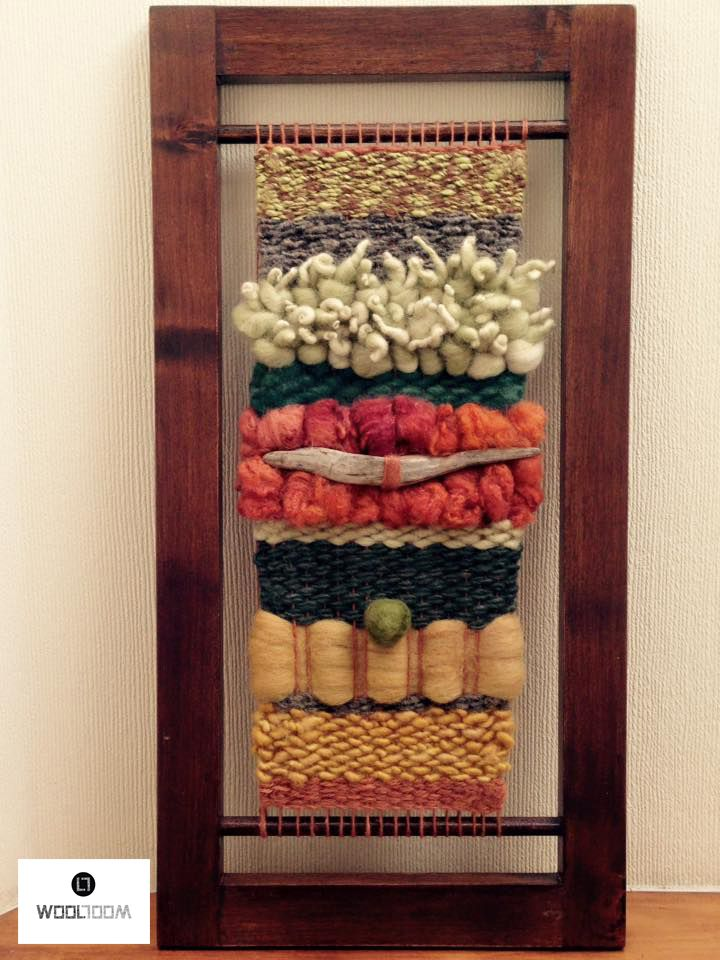Earth tone - Colores de la tierra - Hand woven wall hanging // weaving // telar decorativo made by WooL LooM