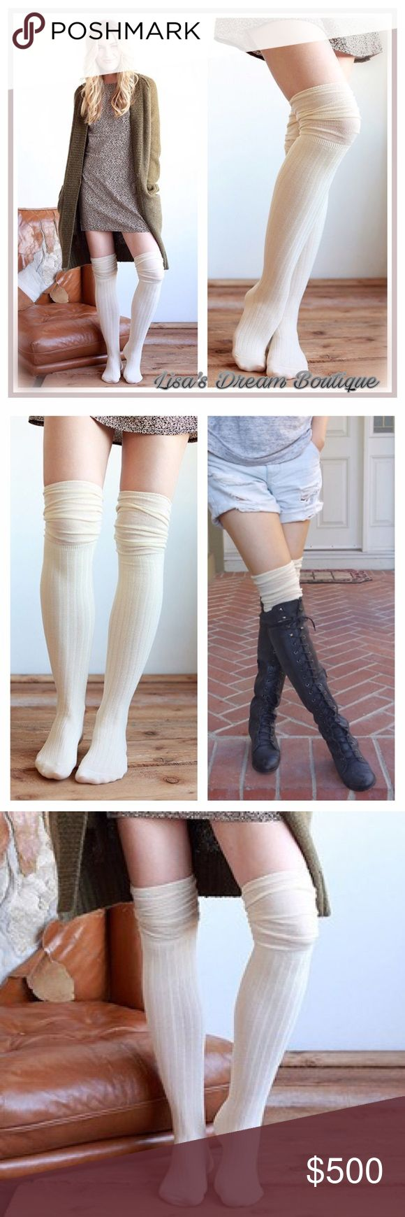 ✨COMING SOON✨•Cream• Over the Knee Socks✨ 🆕Rayon Blend Jersey Over the Knee Socks..loose topper over the knee to show over boots✨Like this listing to be notified of arrival✨🔹NO TRADES🔹PRICE WILL BE FIRM UNLESS BUNDLED🔹💟20% OFF BUNDLES💟 LDB Accessories Hosiery & Socks