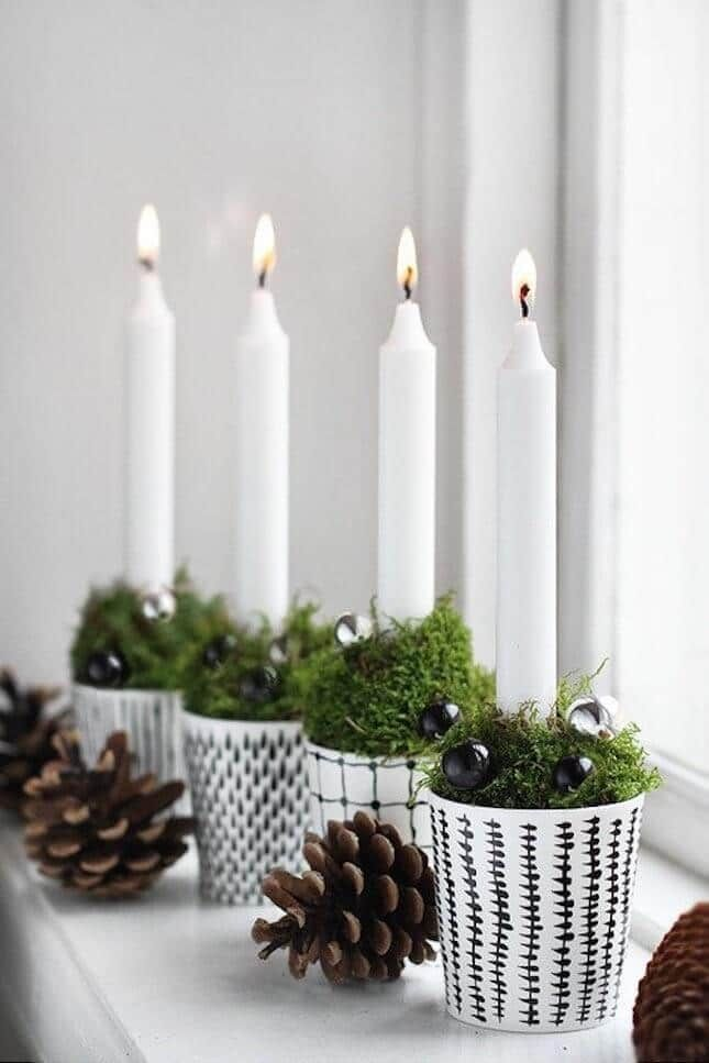 DIY Weihnachtsdeko und Bastelideen zu Weihnachten, skandinavische Tischdeko mit Kerzen