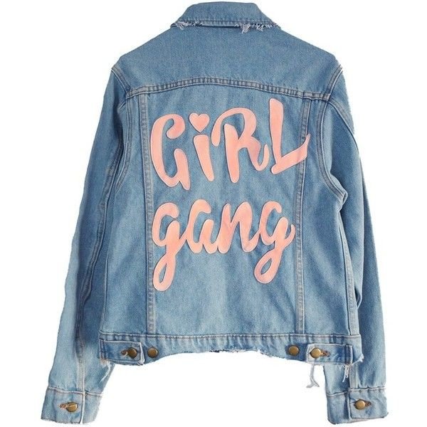 OFFICIAL GIRL GANG DENIM JACKET (2,770 MXN) ❤ liked on Polyvore featuring outerwear, jackets, tops, blue denim jacket, jean jacket, distressed jean jacket, blue jean jacket and blue jackets