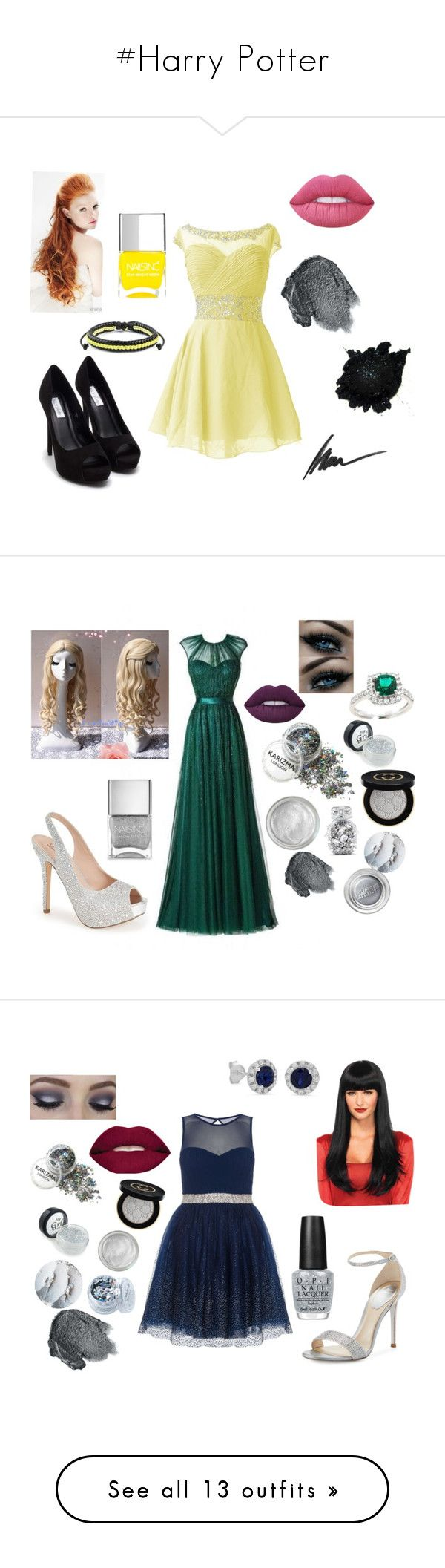 """""""#Harry Potter"""" by turqoiseninja ❤ liked on Polyvore featuring Nly Shoes, Lime Crime, West Coast Jewelry, Anna Sui, Nails Inc., Max Factor, Lauren Lorraine, Gucci, Silver Lining and Victoria's Secret"""