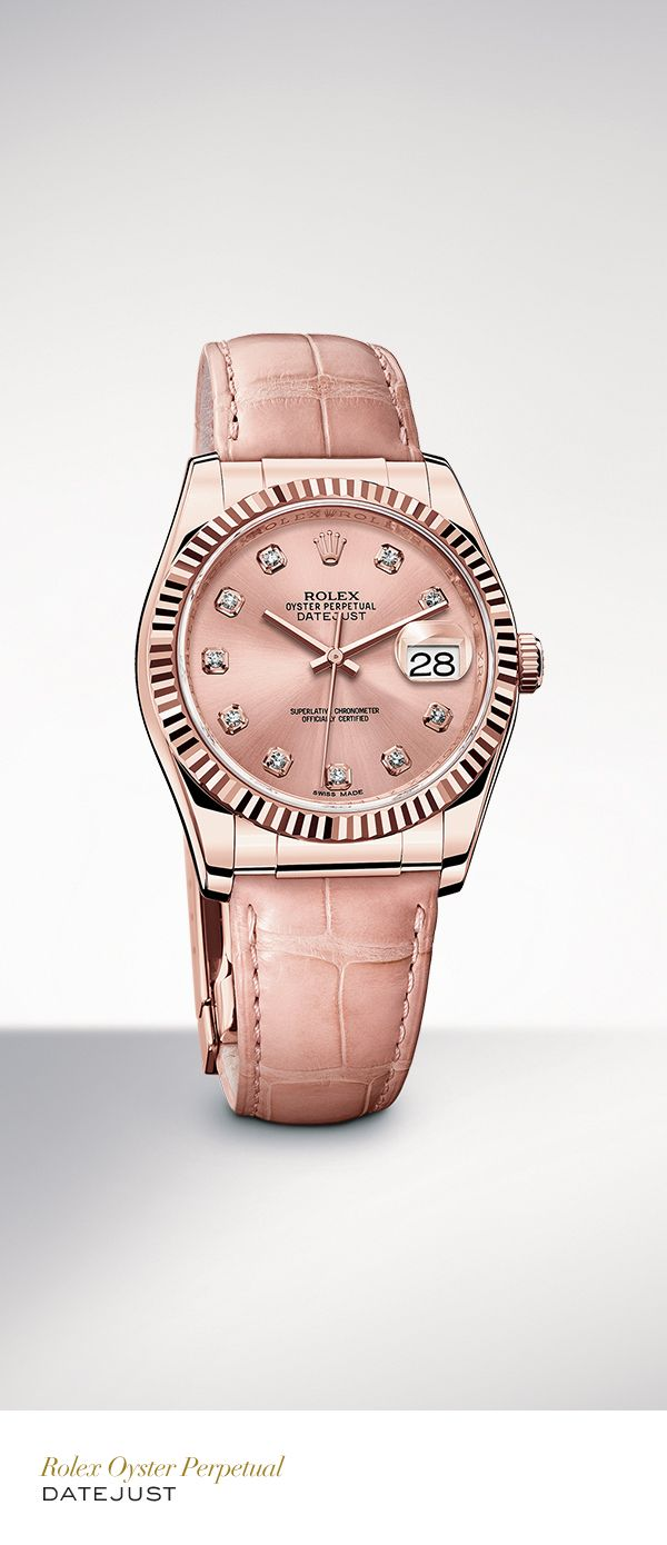 The Rolex Datejust 36 mm in Everose gold with a fluted bezel, pink set with diamonds dial and pink leather strap. #Festive #RolexOfficial
