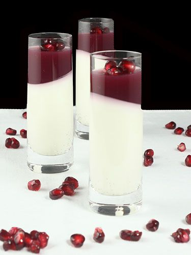 Vanilla-Coconut Panna Cotta with Pomegranate Jelly